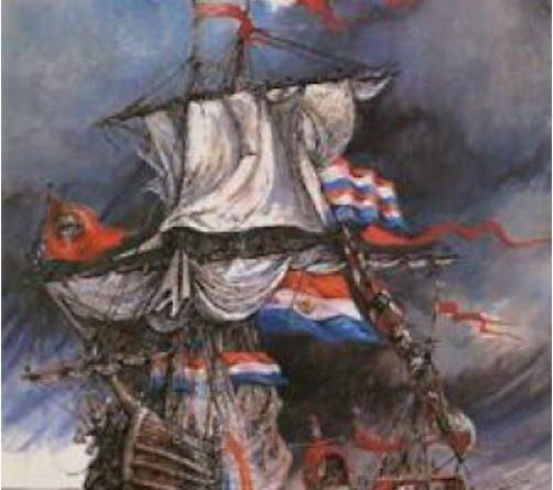 Estandartes turcos ondeando junto a los colores holandeses en una nave de Holanda.  Pintura de Arie Zuidhoek.   http://spiritualchange.blogsome.com/2008/09/25/nederland-was-liever-turks-dan-paaps