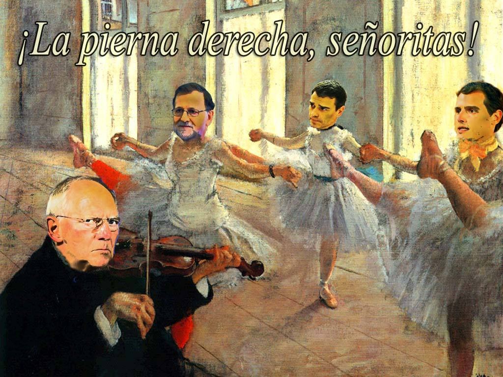 La pierna derecha, señoritas. De la serie Museo Político, Ilustración original de Rafael Herrera