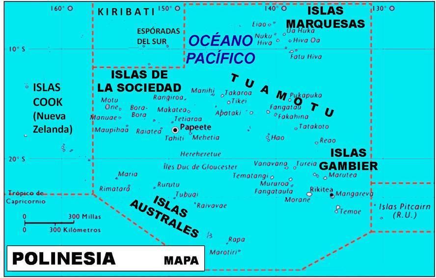 Polinesia.Mapa elaboración propia ©José Antonio Crespo-Francés