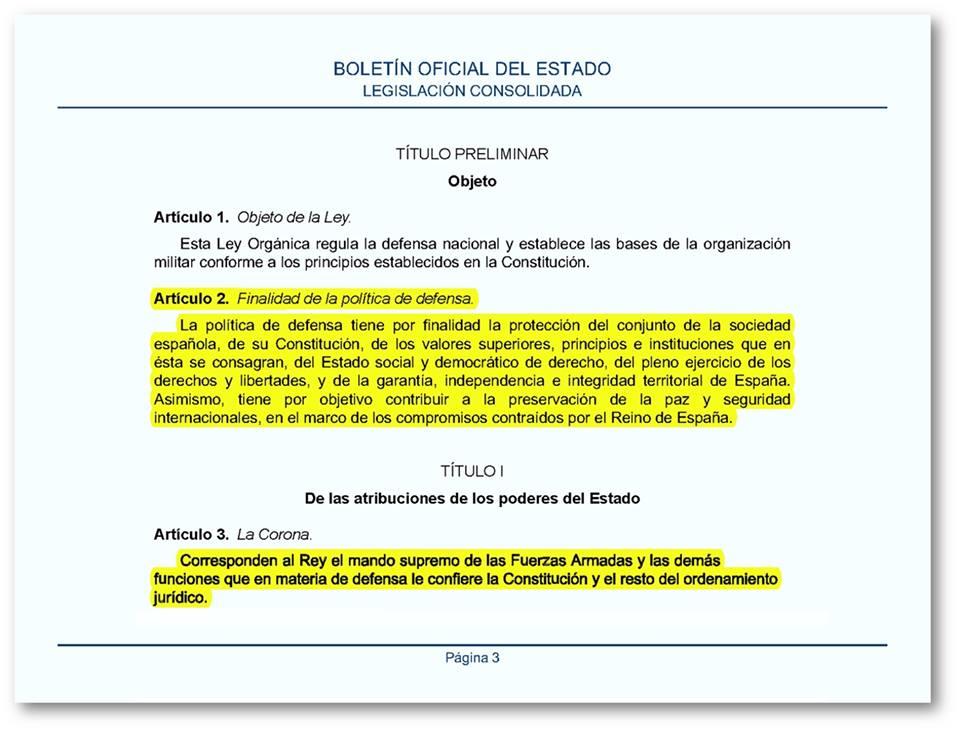 Página 3 Ley Orgánica 2005, de 17 de noviembre, de la Defensa Nacional