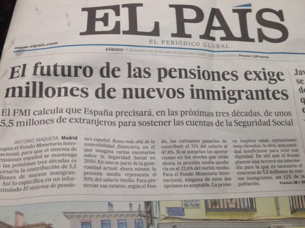 Titular de El País