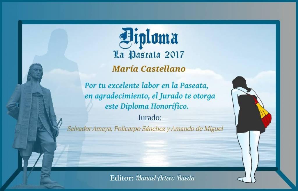 Diploma entregado a Maria Castellano en la primera dedición de los premios La Pasesata