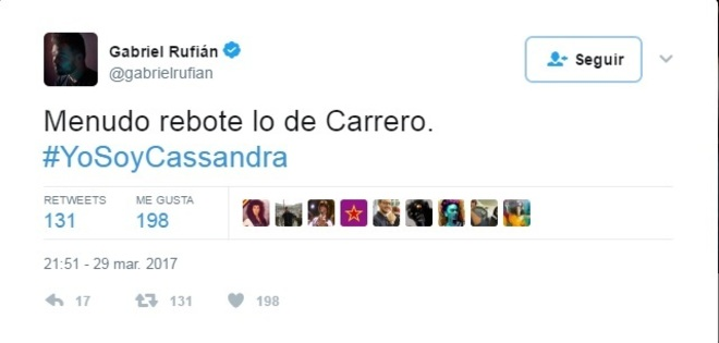 Uno de los tuits de Cassandra sobre Carrero Blanco