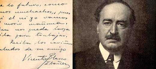 Manuscrito de Vicente Blasco Ibáñez