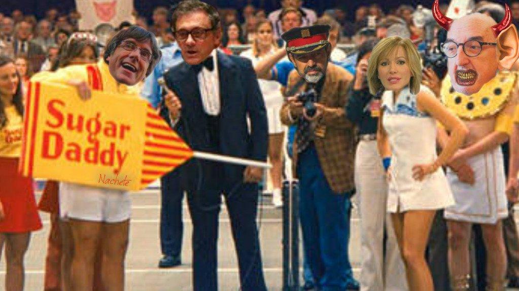 Salida de Puigdemont, el Máster con piernas y preso del falso derecho a decidir. Ilustración de Nachete