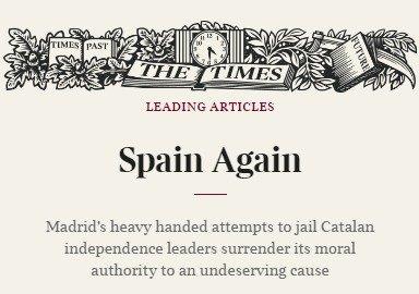 """El Times ha publicado un editorial titulado """"España otra vez"""""""