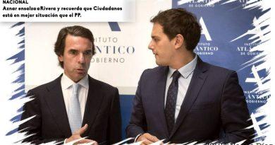 Aznar ensalza a Rivera. Twitt de 08-Nov-2017