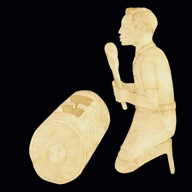 Congo, figura de marfil, tocando el tam-tam
