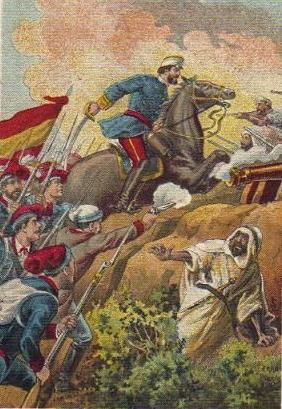 Lamina de los Episodios Nacionales correspondiente a la Batalla de Tetuán (1860). El General PRIM con lo VOLUNTARIOS CATALANES asaltan las trincheras moras.