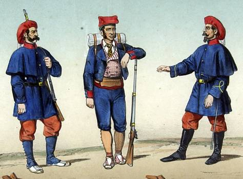 Lamina del Álbum de Infantería Española desde sus orígenes primitivos hasta el día.Madrid 1861.   Voluntario catalán junto a un soldado y subteniente de los Tercios Vascongados. Guerra África 1860