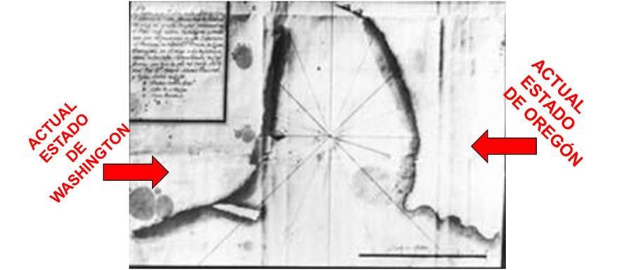 Primer dibujo de la desembocadura del río Columbia