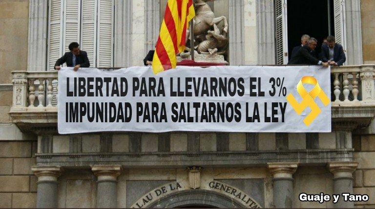 Ante el clamor de millones de catalanes, Torra ha quitado la pancarta del Palacio de la Generalitat
