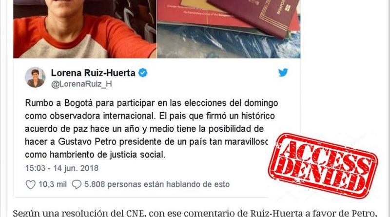 Ruiz-Huerta expulsada de la Misión Internacional tras un tuit que apoyaba al candidato Gustavo Petro