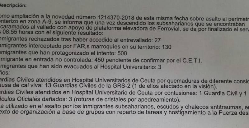 Parte oficial del último asalto a la valla de Ceuta