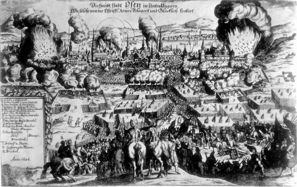 Asalto a Buda en 1686. Al fondo se distingue la brecha en la muralla de la ciudad donde perdió la vida el Duque de Béjar.