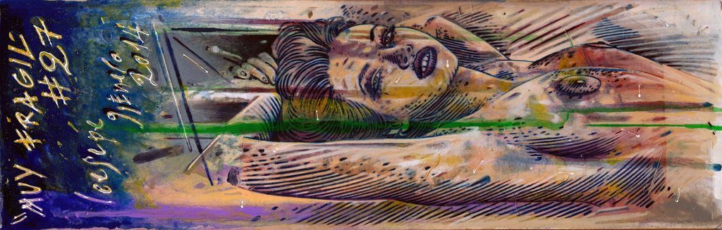 Ceesepe , pintura en cartón , 55,5 x 18 cms