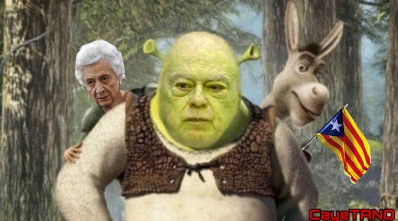 La ciénaga que Jordi Pujol y sus convergentes robaron a Shrek se llama República catalana. Ilustración de Tano