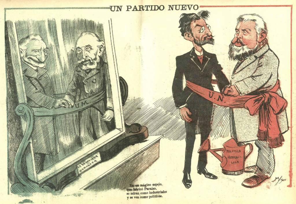 Un partido nuevo, caricatura publicada el 7 de marzo de 1900 en Gedeón, que hace referencia a la formación de la Unión Nacional y en la que aparecen representados Basilio Paraíso y Joaquín Costa.