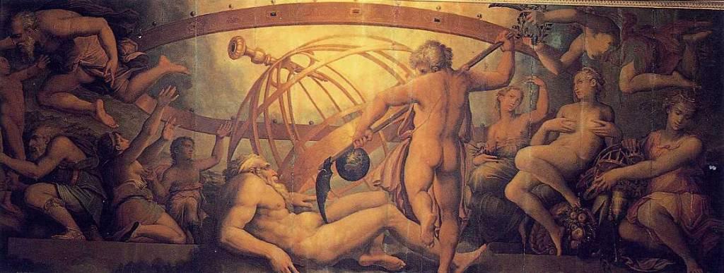 Cronos castrando a su padre Urano es una obra al fresco del pintor Giorgio Vasari, realizada en 1564, que se encuentra en la Sala di Cosimo, en el Palazzo Vecchio de Florencia, Italia.