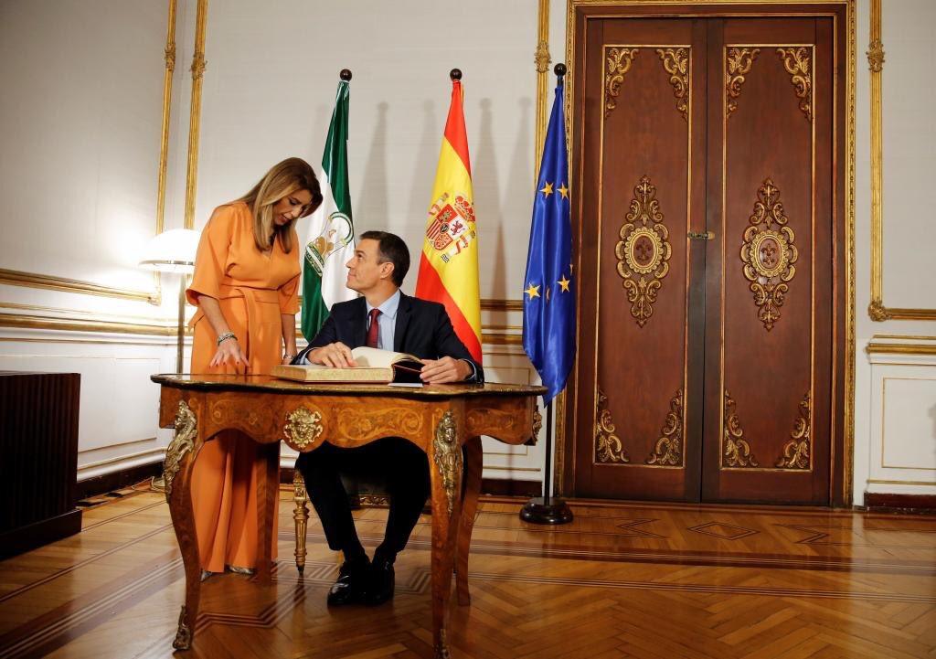 Susana Díaz y Pedro Sánchez en el Palacio de San Telmo