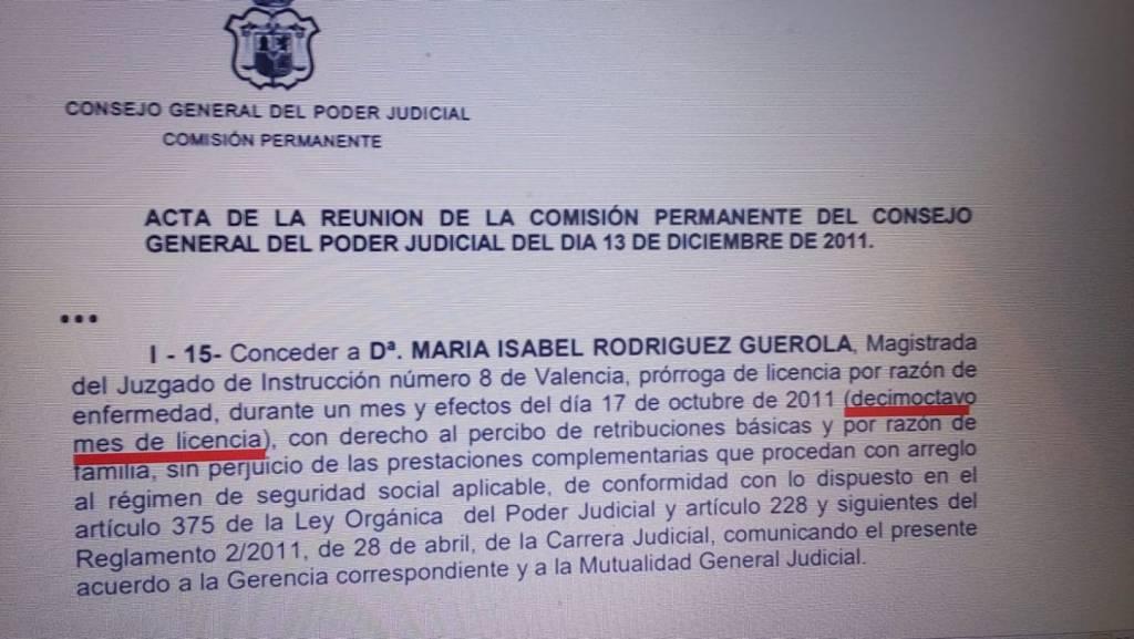 Acta del Consejo General del POder Judicial por la que concede prórroga de licencia por razón de enfermedad a María Isabel Rodrígue Guerola