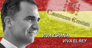 Viva España, viva el Rey y viva la constitución. Ilustración de Rodolfo Arévalo