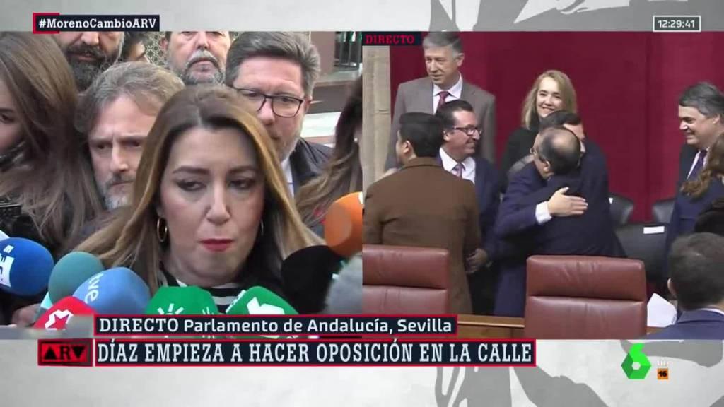 Acaba de decir Susana Díaz en TV que los que se manifiestan hoy en el Parlamento van por voluntad propia y libremente. Me dice un amigo que ha ido que les pagan bus, desayuno, comida y bocata de vuelta