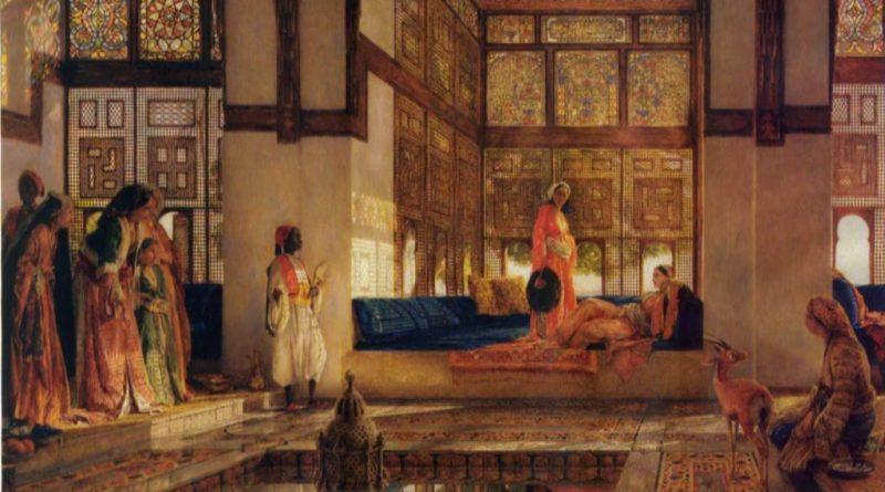 La corte de Al Mutamid.: La recepción. Óleo de John Frederick Lewis. 1873