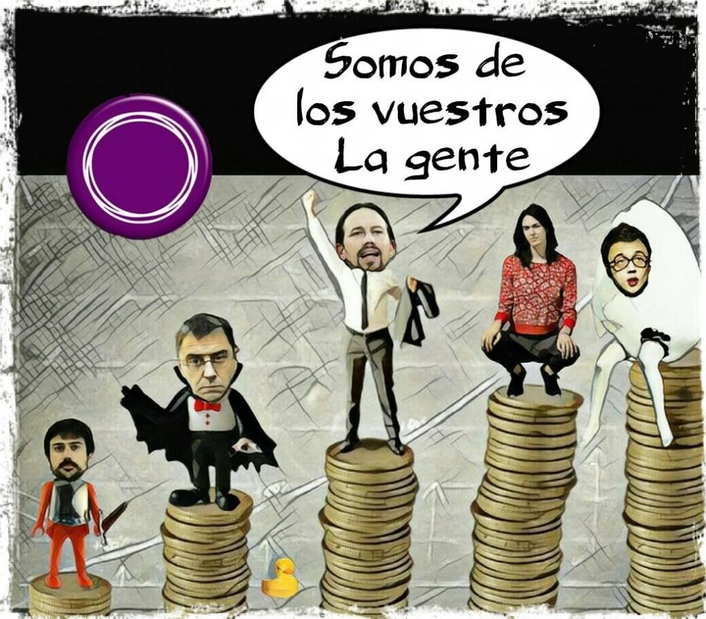 No te lo creas, los de Podemos están forrados, y muchos de ellos son parte de sagas privilegiadas de la vieja política en España. Ilustración de Linda Galmor