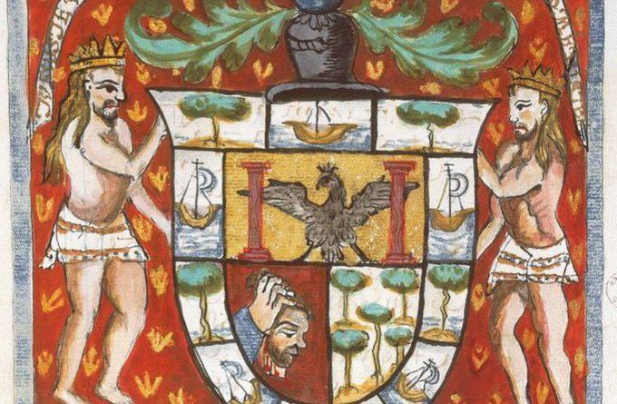 """""""TÚ FUISTE UNO DE LOS PRIMEROS QUE LA VUELTA ME DISTE."""" Es el escudo de armas concedido al capitán de la nao Trinidad, Gonzalo Gómez de Espinosa.  Espinosa es uno de esos héroes olvidados, de importancia capital en la historia del viaje de la primera vuelta al mundo."""