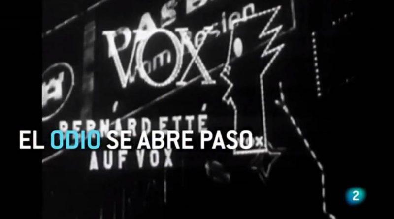 """TVE cuela un letrero con la palabra """"VOX"""" en un reportaje sobre el nazismo. La Ley General de Comunicación Audiovisual 7/2010 prohíbe la publicidad subliminal en su articulo 18.3, ya sea con fines económicos o de naturaleza politica. Considerándolo una infracción grave, sancionadas con multa de 100.001 euros hasta 500.000 euros en el articulo 60.2."""