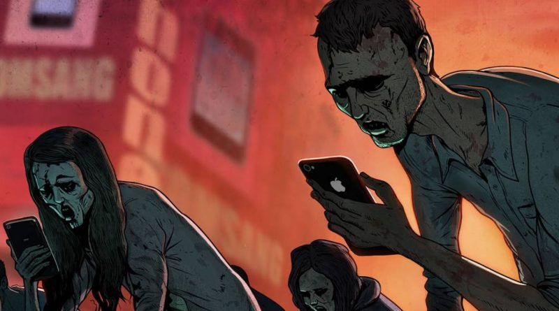 El teléfono móvil. Obra original del artista artista Steve Cutts