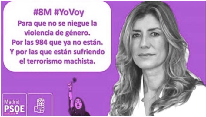 Begoña Gómez, una mujer enchufada por su marido que cobra 6.000€ al mes por un trabajo al que no asiste, es el ejemplo de las feministas. Como para acudir a la manifestación del #8M