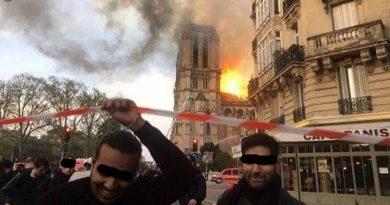 El contraste en una sola imagen... Arde Notre Dame y los enemigos acérrimos de la religión Cristiana y de la Cultura occidental se ríen.