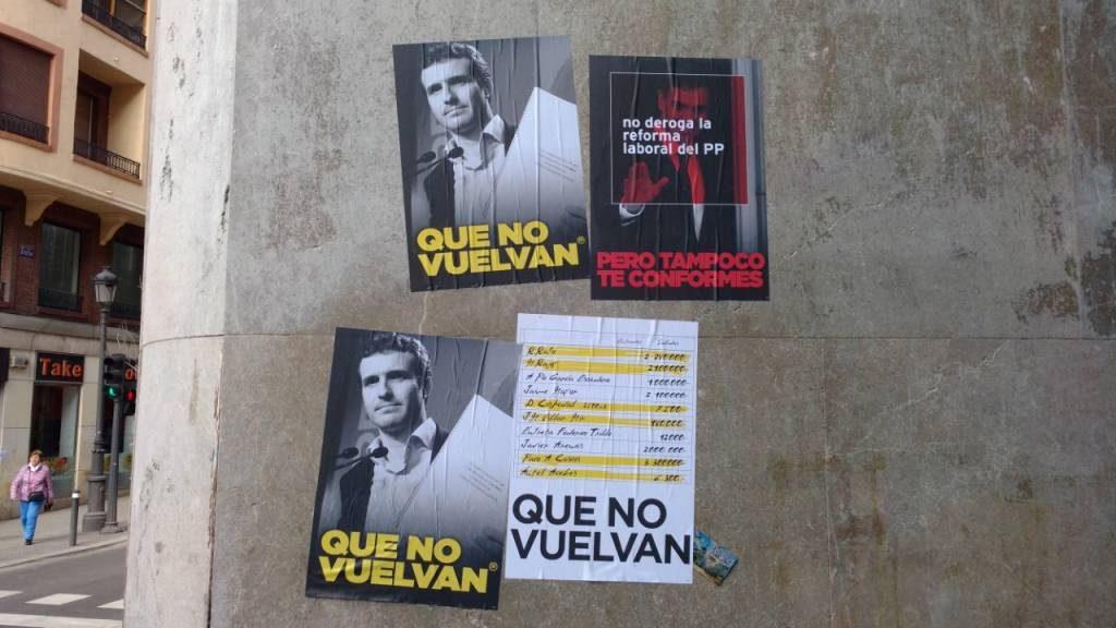 Pegada ilegal de carteles por la zona Centro de Madrid