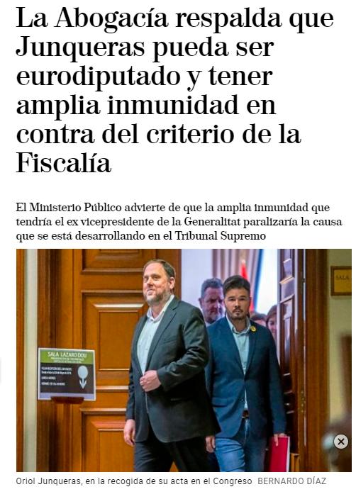 Pedro Sánchez respalda que Junqueras pueda ser eurodiputado y tener amplia inmunidad en contra del criterio de la Fiscalía