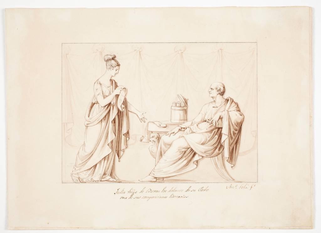 Tulia, hija de Cicerón, lee delante de su padre una de sus composiciones literarias - Colección - Museo Nacional del Prado