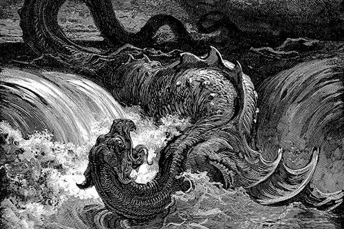 Leviatán es un enorme dragón marino con forma de cocodrilo o de serpiente al que se hace referencia en 6 ocasiones en el Antiguo Testamento