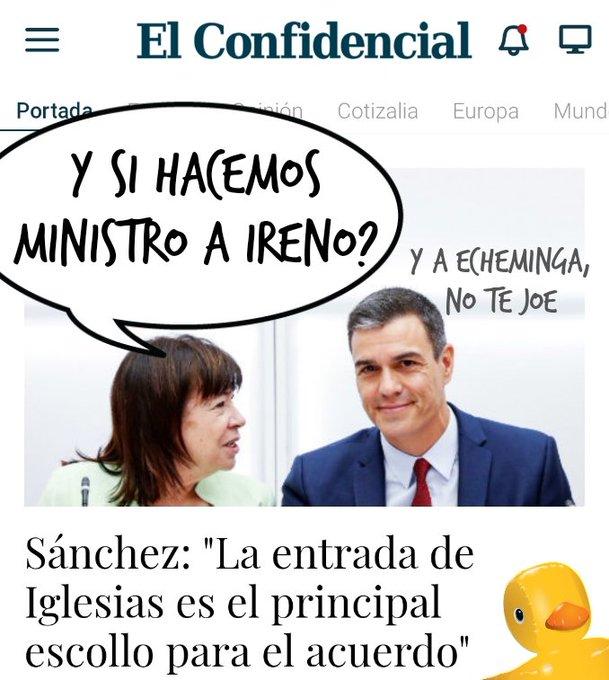 Sánchez se descojona del Pavo Iglesias en la tele y le niega su entrada en su gobierno de progreso. Por Linda Galmor
