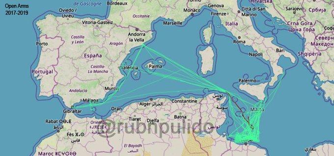Esta imagen forma parte de dos años de recorrido del Open Arms. Un resumen de todas sus trayectorias analizadas con  @MarineTraffic . La intensidad de color muestra las zonas más frecuentadas. Por Rubén Pulido