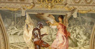En la imagen un soldado español recibe el rosario de un ángel (Museo Vaticano)