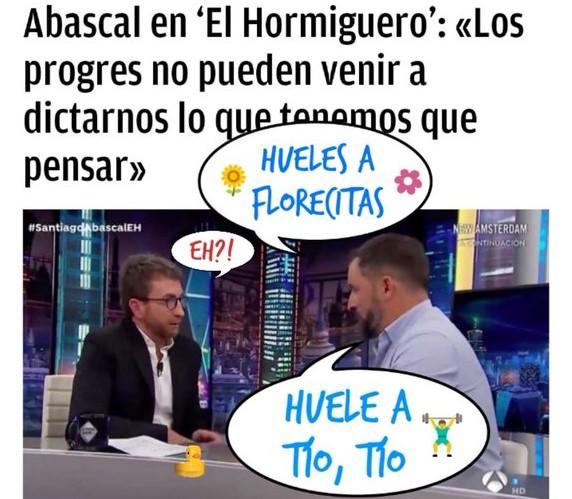 Santiago Abascal, ayer en #ElHormiguero, llamó chulo y mezquino a Sánchez y veleta al Albert. por Linda Galmor