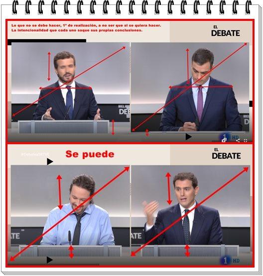 Tecnicamente sí se puede. Como vemos en las gafas de Rivera e Iglesias, los planos están compensados. Por el contrario Casado y Sánchez aparecen descompensados.
