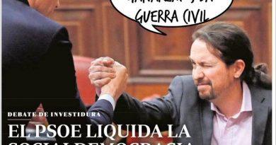 Los Españoles no vamos a dejarnos arrastrar hacia la pobreza y la dictadura sin luchar. En Portada del #FelizDomingo. Ilustración de Linda Galmor