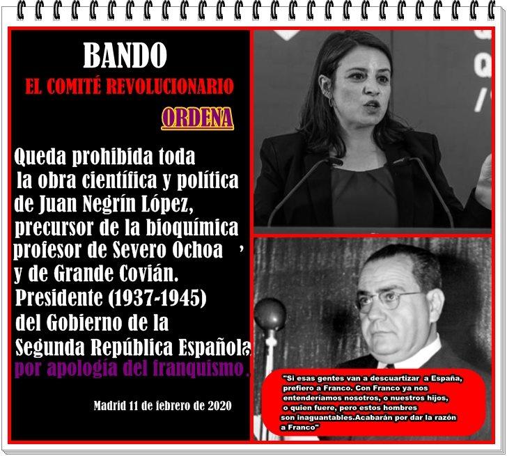 Queda prohibida toda la obra científica y política de Juan Negrín por apología del franquismo