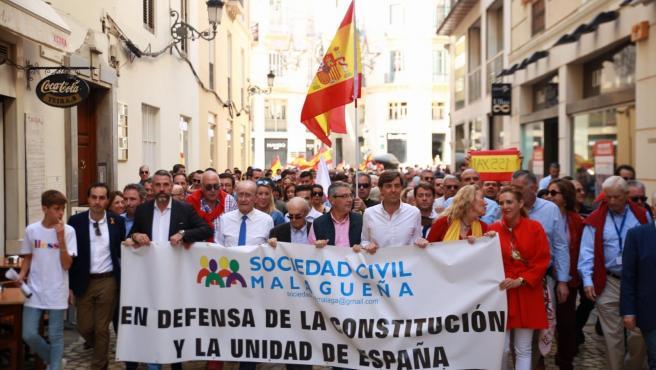 Contra la mentira política. En la imagen la manifestacion convocada por Sociedad Civil Malagueña en defensa de la unidad de España.