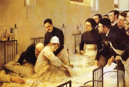 "Óleo sobre tela ""La visita al hospital"", de Luis Jiménez Aranda (1845-1928). Museo del Prado, Madrid."