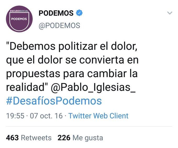 Podemos: politizar el dolor