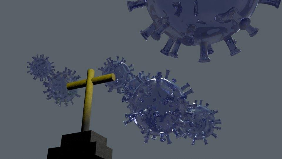 El maléfico virus y el gobierno nos han arrebatado la libertad. Ilustración en 3-D generada por Rodolfo Arévalo