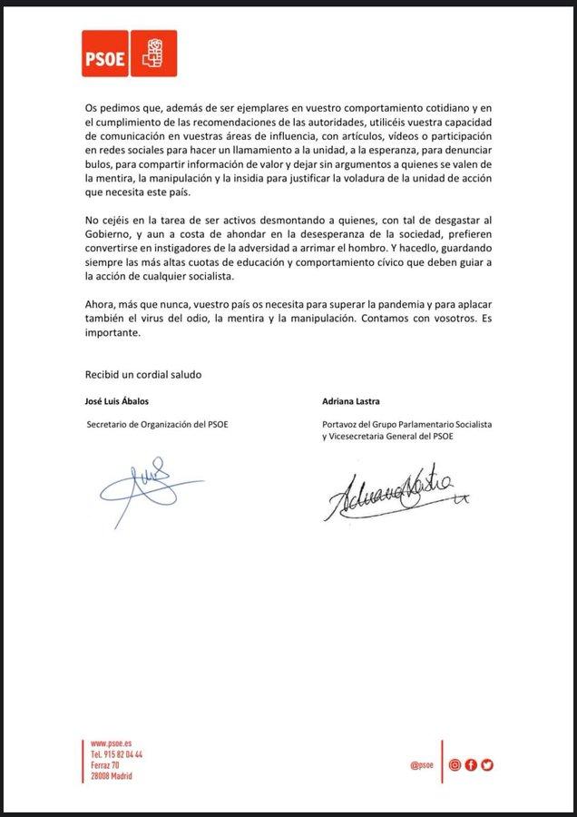 Circular del PSOE firmada por Ábalos y Lastra